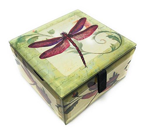 - Value Arts Red Dragonfly Glass Keepsake Box, Beveled Edges, Velvet Lined, 4 Inches Square