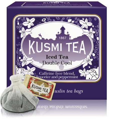 Kusmi Tea Double Cool Herbal Tea - Apple, Rosehip Seeds, Verbena Leaves, Peppermint, Aniseed, and Licorice Root Infusion Soothing Stress Relief Caffeine-free (10 Tea Bags 1 Liter Per Tea Bag)