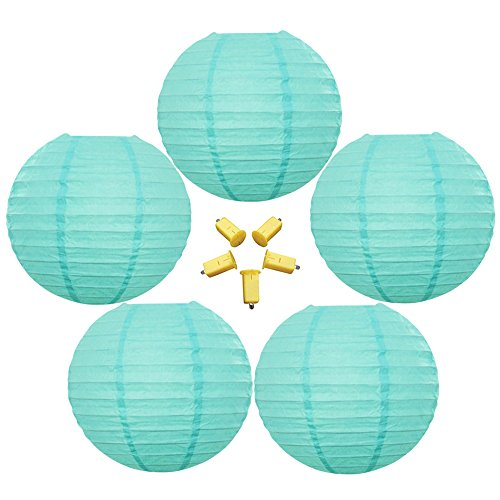 Neo-LOONS-5-Pack-12-Inch-Tiffany-Blue-Round-ChineseJapanese-Paper-Lanterns-Metal-Framed-Hanging-Lanterns-with-Warm-White-LED-Lights-For-Home-Decor-Parties-Weddings-and-DIY