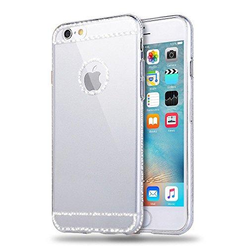 Funda Nuevo para iPhone 6/6S 4.7, Ukayfe Caja de TPU Gel Silicio Plástico transparente para iPhone 6/6S 4.7,Suave Carcasa Caso Parachoques de Flores de Verdad para iPhone 6/6S 4.7,Funda Case Lujo Prem blanco
