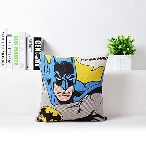 18 X 18 inches Blue Batman Decorative Pillowcase, Yellow Superhero Throw Pillow Cover Movie Adventure Theme Cushion Cover Square Shape Woven Conventional, Cotton