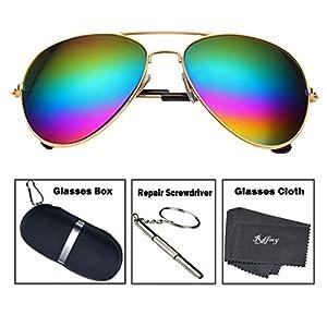 Rdfmy Classic Aviator Sunglasses for women Eyeglasses Gold Frame - UV 400 Rainbow