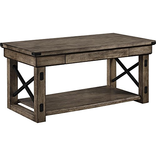 Ameriwood Home Wildwood Wood Veneer Coffee Table, Rustic Gray