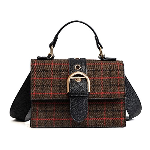 Flap Over Structured Briefcase - Mn&Sue Designer Flap Messenger Handbag Check Plaid Crossbody Bag Women Top Handle Satchel Purses (Coffee)