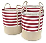 Red Striped Cotton Canvas Nested Round Hampers, Set of 3 - Lg=17''Dx18''H