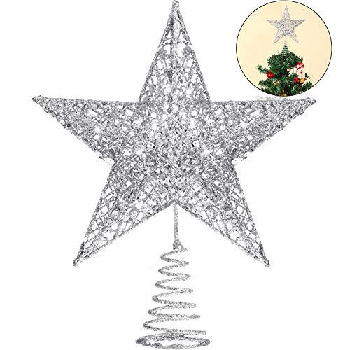 Blulu 10 Inches Christmas Tree Star Topper Xmas Tree Topper Star Christmas Decoration Glittered Tree-top Star (Silver) (Xmas Tree Nice)