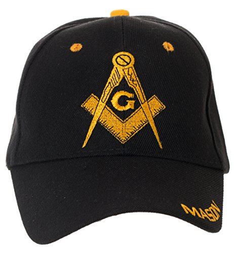 Artisan Owl Freemasons Masonic Square and Compass Hat - 100% Acrylic Embroidered Cap (Black)