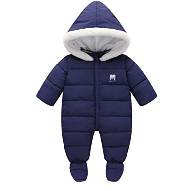 539fcbfc004c9 Amazon.com  Tueenhuge Baby Winter Romper Hooded Puffer Zipper Snowsuit Down  Thick Jumpsuit (0-6 Months