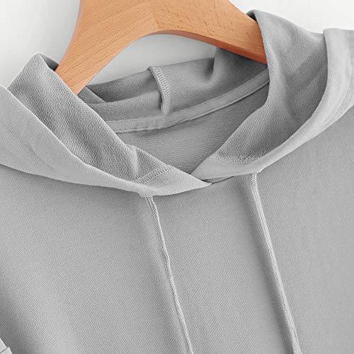 Rovinci Dcontracte Gris Longue Sweat Printemps Unie Tops Manche Shirt Mode Hiver Couleur Capuche Sweat Femmes C Sauteur shirt Pull ur T L'automne Chemisier Impression Capuche 8S8w6q