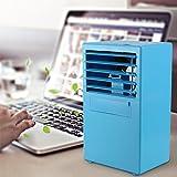 MOSTOP Portable Air Conditioner Fan Small Desktop Fan Quiet Personal Table Fan Mini Evaporative Air Circulator Cooler Humidifier for Summer (BLUE)