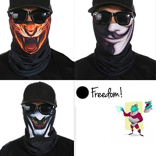 Skull Mask, Breathable Seamless Half Face Tube Mask Bandanas for Dust, Music Festivals, Raves, Riding, Outdoors, 3 Pcs (Advanced Warfare Halloween Costume)