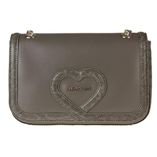 Love Moschino Chain Heart Womens Handbag Grey by Love Moschino
