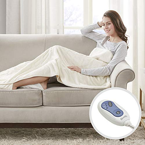 Beautyrest Foot Pocket Soft Microlight Plush Electric Blanket Heated Throw Wrap with Auto Shutoff, 50x62, Ivory ()