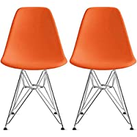 2xhome - Set of Two(2) Orange - Eames Style Side Chair Chromed Wire Legs Eiffel Legs Dining Room Chair No Arm Arms Armless Seats Wood leg Wire leg Dowel Leg Base Chrome Metal Eifel Molded Plastic…