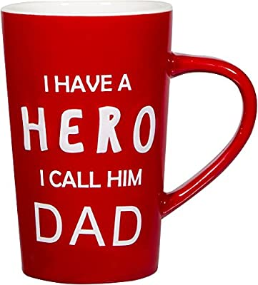 "18 oz Dad Coffee Mug with: ""I Have a HERO I Call Him DAD""; Gifts for Dad; Birthday Gifts for Dad; Dad Mug; Fathers Day Gifts!"
