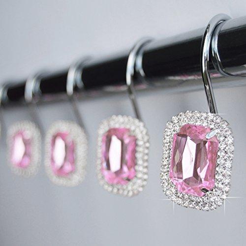 Pink Shower Curtain Hooks - Shower Curtain Hooks Rings - Pink Luxurious Decorative Crystal Diamond Bling Rhinestones Bathroom Bath Gift Set Women Girls Decor (Pink)