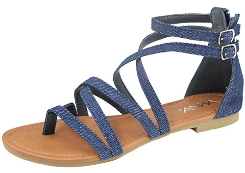 Image of Anna Shoes Women's Strappy Buckle Accent Zip Heel Flat Sandal