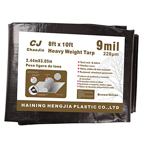 ChaoJin Waterproof Tarp 9 Mil Thick Rust, Tear Proof Heavy Duty Tarp with Grommets and Reinforced Edges 8