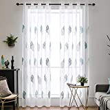 MIULEE 2 Panels Leaves Embroidery Sheer Curtains Grommet Window Curtain Semi Voile Drapes Panels for Living Room Bedroom Big Leaves Blue 55' Wx88 L