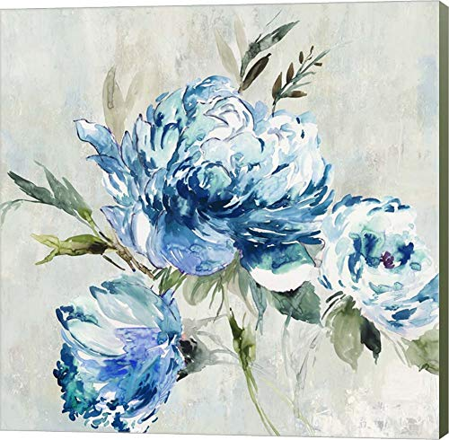 Blue Peony I by Asia Jensen Canvas Art Wall Picture, Museum Wrapped with Sage Green Sides, 12 x 12 inches