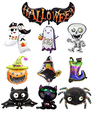 Sharlity 10 Different Design Shape Happy Halloween Aluminum Foil Party Supplies Decoration