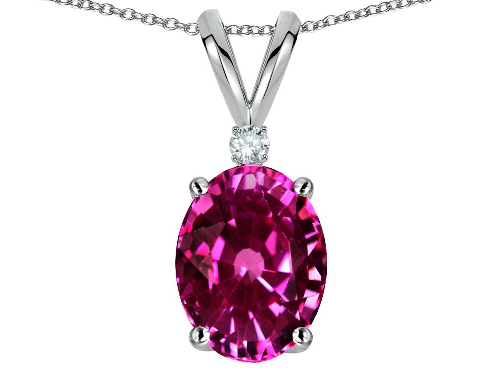 Star K Oval 8x6mm Simulated Pink Tourmaline Rabbit Ear Pendant Necklace 14 kt White Gold