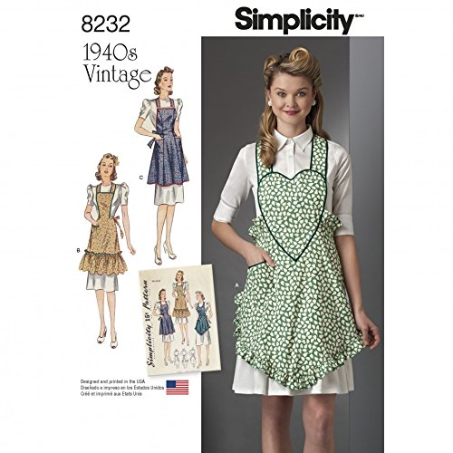Simplicity Ladies Sewing Pattern 8232 1940s Vintage Style Aprons
