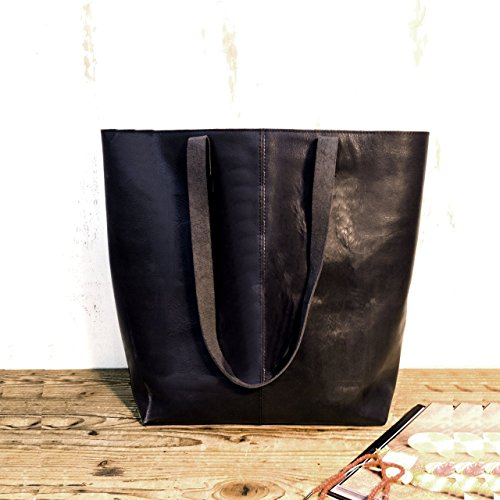 Black leather tote bag sturdy Handmade shopper handbag Women's purse
