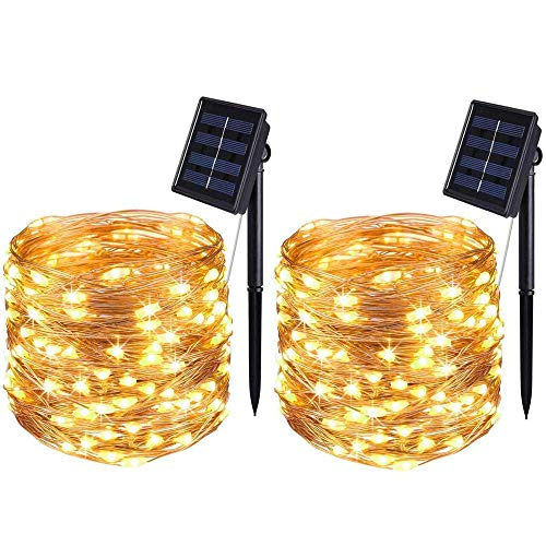 BOLWEO 2 Pack Solar Powered String Lights, Solar Fairy Lights, 10M / 33Ft 100LEDS 8 Modes, Waterproof Copper Wire Lighting for Indoor Outdoor Wedding Patio Home Garden Decoration (Warm White)