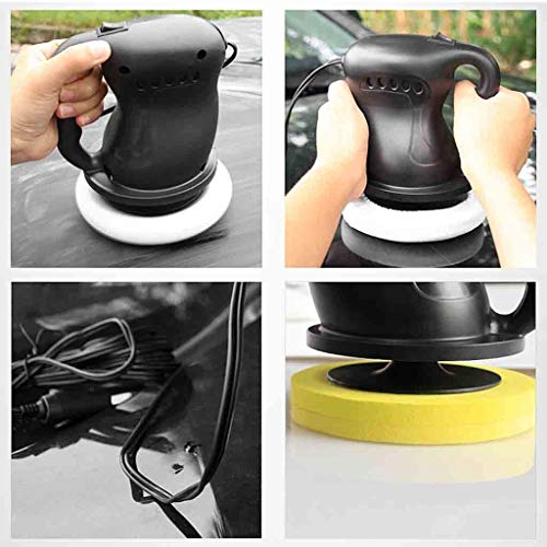 YunZyun Car Polisher Machine 12V 36W Electric Car Machine Polishing and Buffing Waxing ABS Waxer/Polisher,Equipped with 2 Polishing Covers to Meet Your Different Needs (Black)