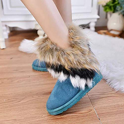 Esqlotres Women Fashion Casual Thicken Fluffy Faux Fur Winter Warm Snow Boots