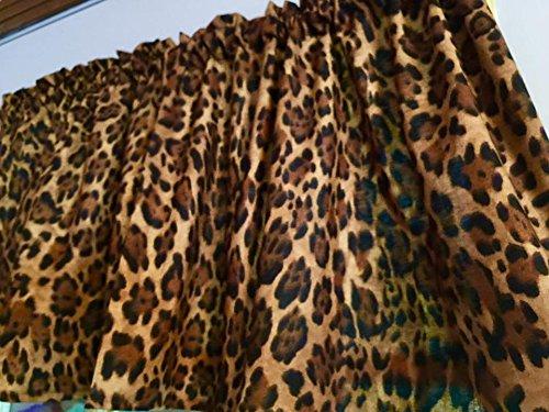 Brown Animal Print Wildlife Cheetah Jaguar Cotton Window Curtain Valance handmade 42''W x 15''L Fabric by Handmade in the USA