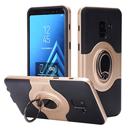 Plonglora Samsung Galaxy A8+ 2018 Case, Hybrid Dual Layer 360 Degree Swivel Ring Kickstand Protective Case [Support Magnetic Car Mount Case] for Samsung Galaxy A8 Plus 2018 / A8+ 2018 (Gold)