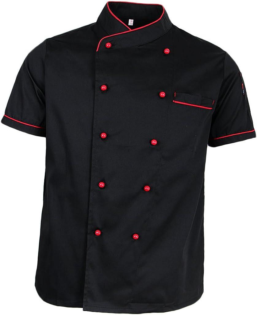 perfeclan Hotel Chef di Cucina Uniforme Manica Corta Giacca Camicia Fibbia A Doppio Petto Cameriere Cuoco Vestiti