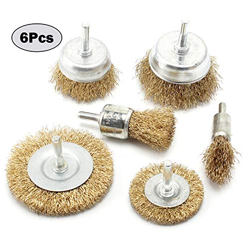 - 6-Piece Brass Coated Wire Brush Wheel & Cup Brush Set with 1/4-Inch Shank
