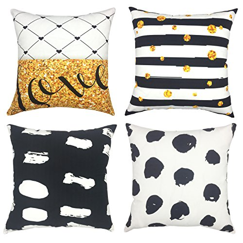 YOUR SMILE Geometric Cotton Linen Sofa Home Decor Design Throw Pillow Case Cushion Covers Square 18x18 Inch,Set of 4 (Black/White/Gold)