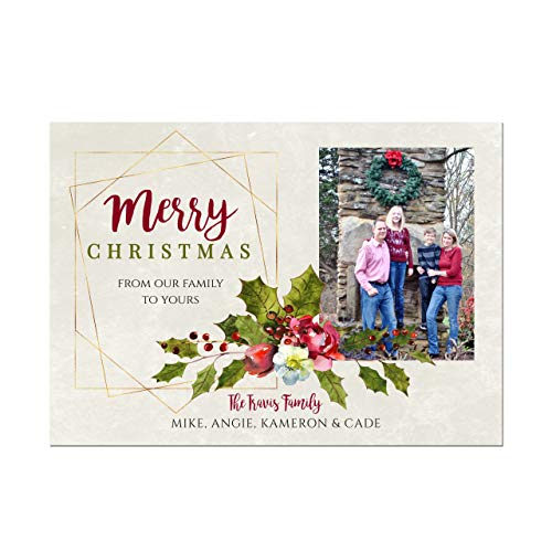 Photo Christmas Cards with Holly and Berries and Gold Prism Frame, Base price is for Set of 10 5x7 cardstock cards with white envelopes