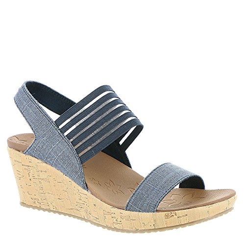- Skechers Beverlee Smitten Kitten Womens Wedge Sandals Navy 7.5