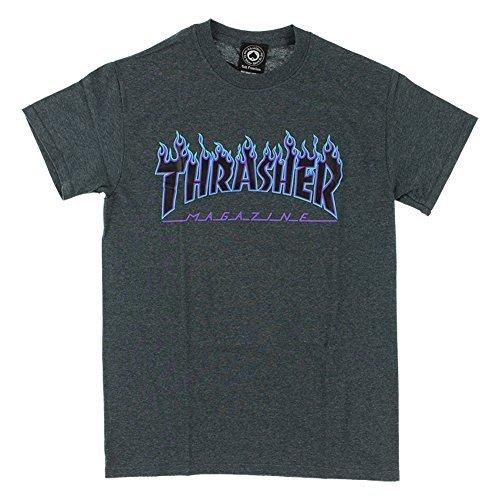 Thrasher Flame Logo T-Shirt - Dark Heather - XL