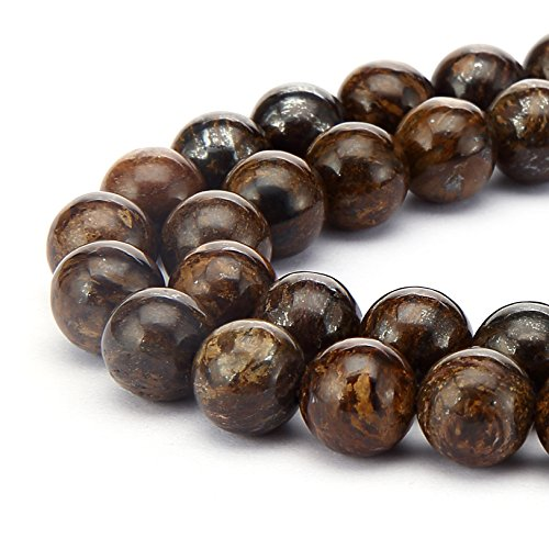 BRCbeads Bronite Natural Gemstone Loose Beads Round 6mm Crystal Energy Stone Healing Power for Jewelry Making- Brown