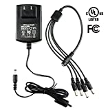 [UL FCC Listed] SECRT Security Camera Power Supply Adapter 12V 2A 24W 100V-240V AC To DC 2.1x5.5mm w/4-Way Power Splitter Cable Switching Transformers US Plug-Fits DVR/Camera, RGB LED Strip Lights