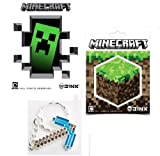 Official Minecraft Diamond Pickaxe Keychain & Sticker Set of 5