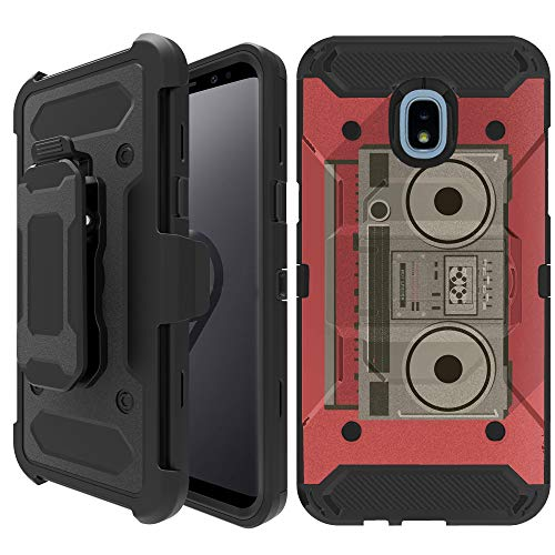 Untouchble Case for Samsung Galaxy J3 2018, Express Prime 3, Amp Prime 3, J3 Orbit, J3 Achieve, J3 Star, Sol 3 [TANK SERIES HOLSTER] Heavy Duty Cover Shell w/Stand Holster Clip - Boombox Retro