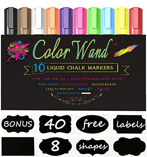 Color Wand Reversible Tip Liquid Chalk Markers, (10 Pens) (New Owner Sticker compare prices)