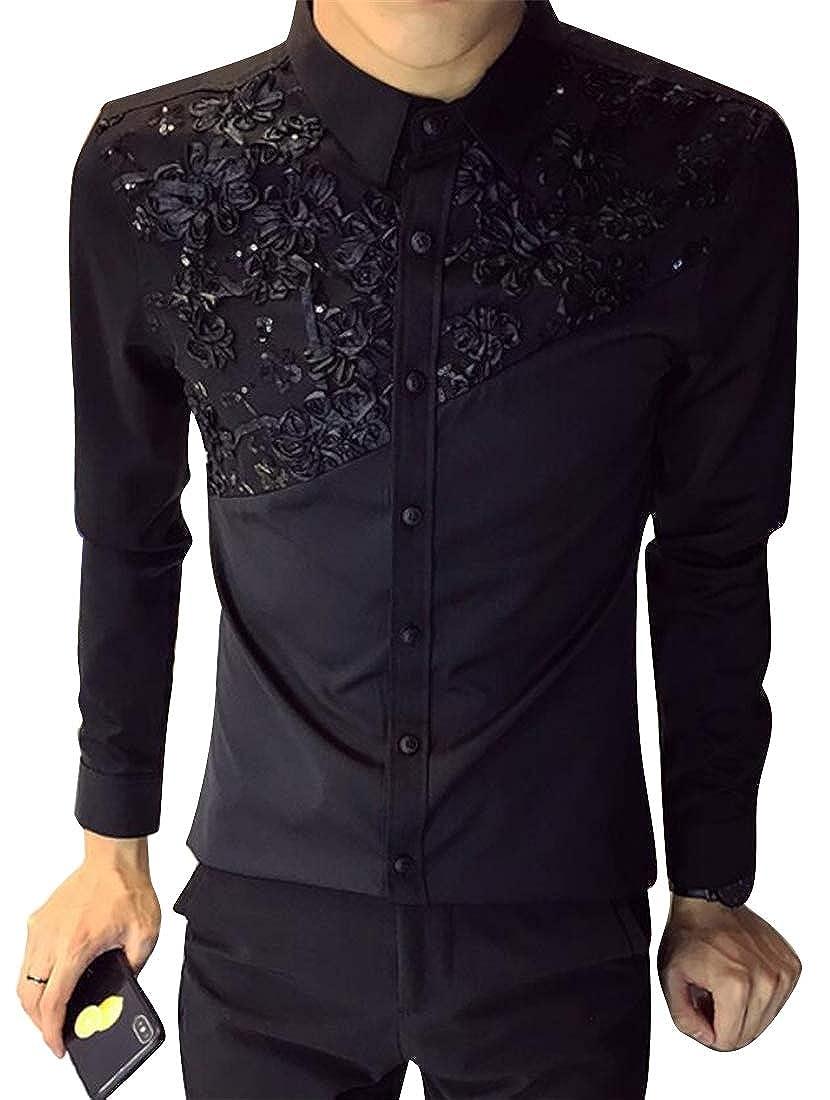 Domple Men Long Sleeve Trendy Slim Hair Stylist Work Splicing Club Button Down Dress Shirts