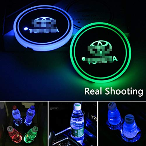 2Pcs LED Car Cup Holder Light for Toyota,USB Charging Coaster with 7 Colors Changing, Luminescent Cup Pad Interior Atmosphere Lamp Decoration Light (Toyota) ()