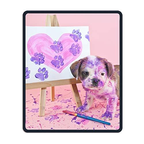 (Animal Puppy Dogs Paint Mouse Pad Stylish Non Slip Mousepad Mat)