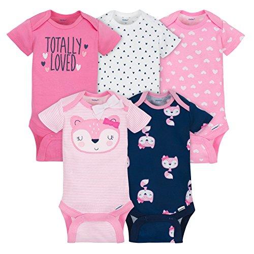 Gerber Baby Girls 5 Pack Onesies, Pink Fox, 6-9 ()