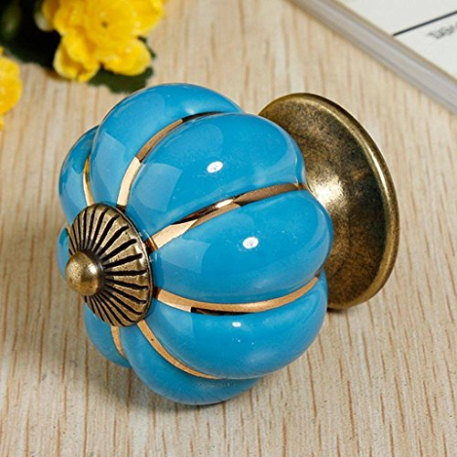 Revesun 40mm 8PCS Cupboard Knobs Handle Pull Knobs Cabinet Pumpkin Door Drawer Locker Blue Ceramic Wardrobe Home Hardware