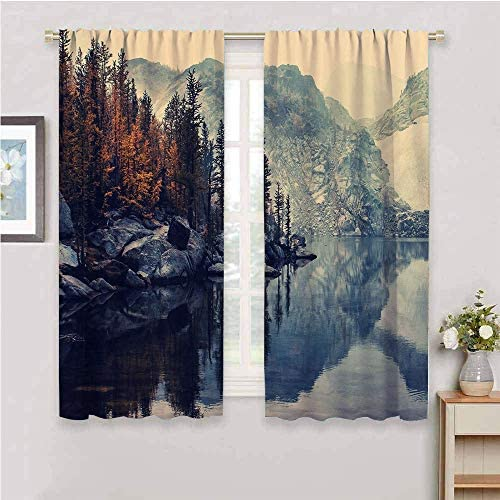 DIMICA Decor Living Room Curtains 2 Panel Sets Lake Mountains Nature Landscape Winter Trees Fall River Snow Reflection Depth of Field Rocks Water W52 x L84 Inch